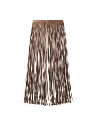 Fringed leather overskirt