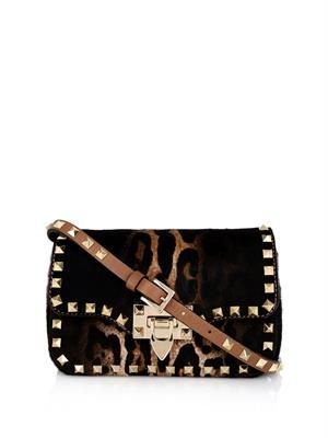 Rockstud calf-hair cross-body bag