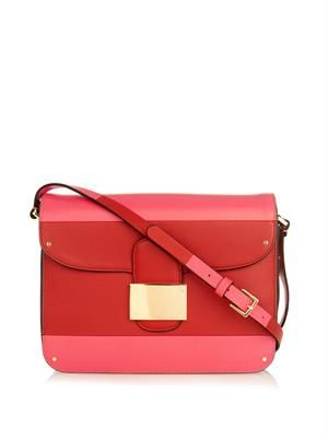 Colour-block leather shoulder bag