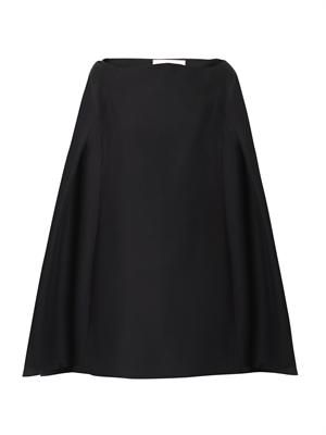 Wool-blend cape dress