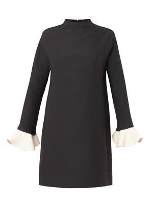 Ruffle-cuff shift dress