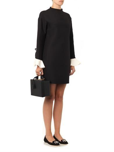 Valentino Ruffle-cuff shift dress
