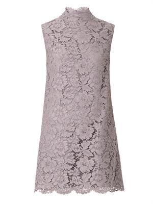 Bow-detail lace dress