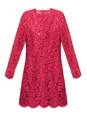 Bow-detail long-sleeved lace dress