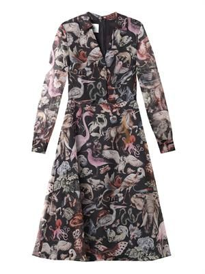 Fantastic Animals-print silk dress