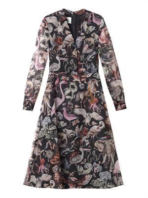 Fantastic Animals-print silk dress