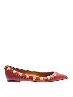 Gryphon-stud leather flats