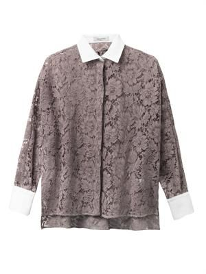 Bi-colour lace shirt