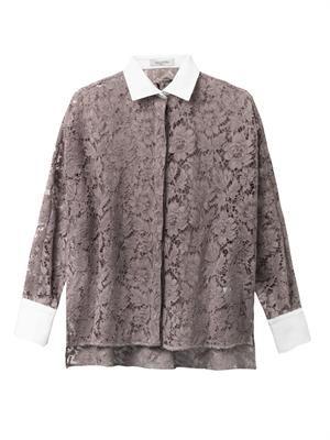 Bi-colour lace shirt