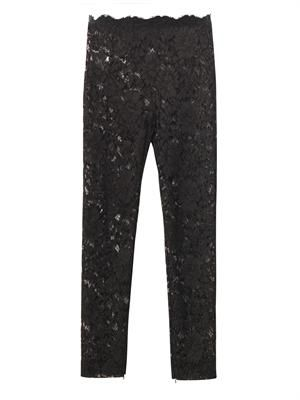 Sheer-lace tailored trousers
