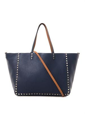 Rockstud Double reversible leather tote