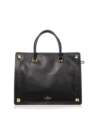 Stud double-handle leather tote