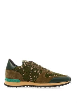 Rockstud lace and leather trainers