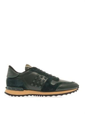 Rockstud leather trainers