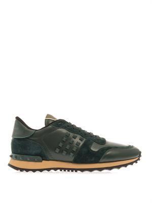 Rockstud leather trainers
