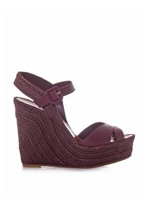 Rope and leather wedge sandals
