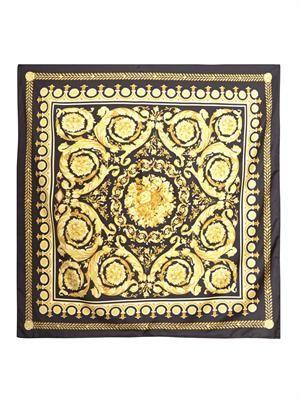 Barocco-print silk scarf