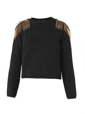 Embellished-epaulette wool sweater