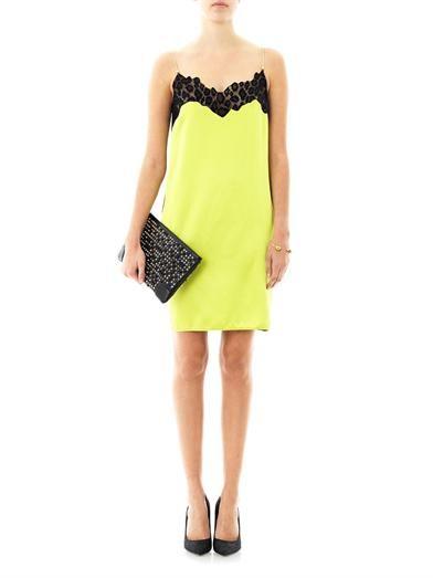 Versace Lace trimmed bi-colour dress