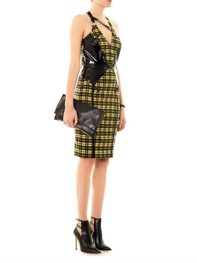 Versace Lurex tartan and leather dress