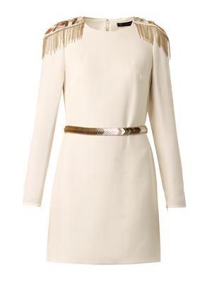 Embellished-epaulette crepe dress