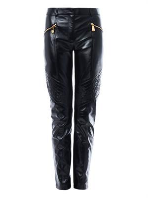 Quilted knee leather trousers