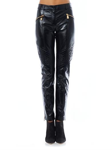 Versace Quilted knee leather trousers