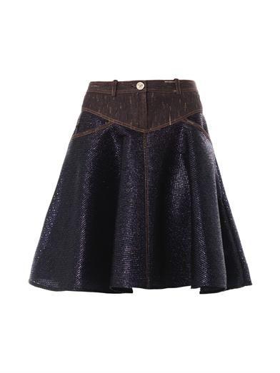 Versace Denim-panel raffia skirt