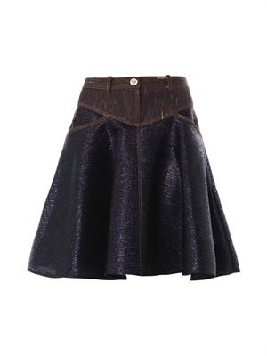 Denim-panel raffia skirt