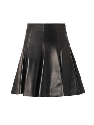 High-waisted leather skirt