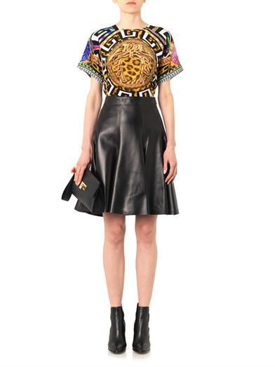 Versace High-waisted leather skirt