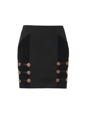 Suede panel mini skirt