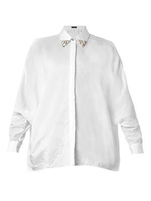 Embellished-collar crepe shirt
