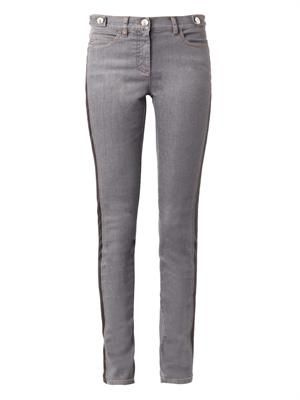 Faux-leather trimmed skinny jeans