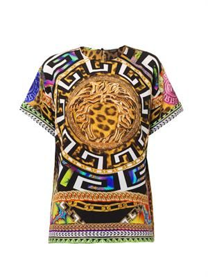 Medusa and leopard-print silk top