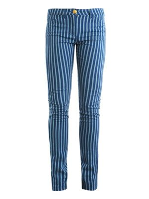 Bi-colour mid rise straight-leg jeans