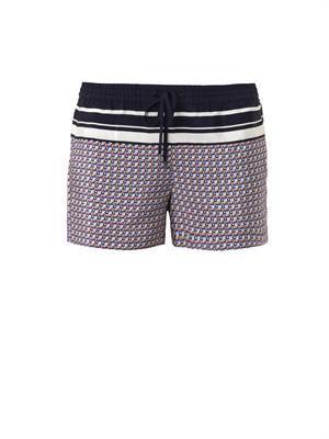 Star-print silk shorts