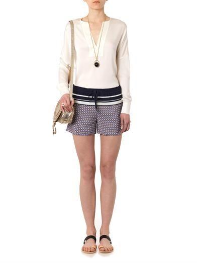Vince Star-print silk shorts