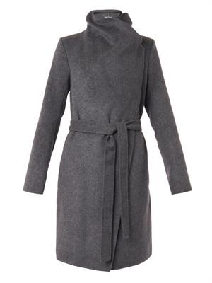 Leather-trimmed double-faced wool coat