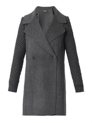 Knitted-sleeeve double-faced wool coat