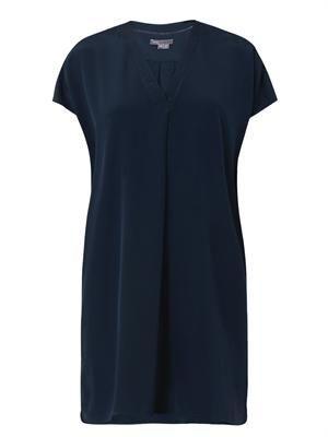 Ladder-trim silk shift dress