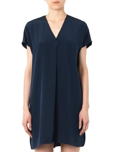 Vince Ladder-trim silk shift dress