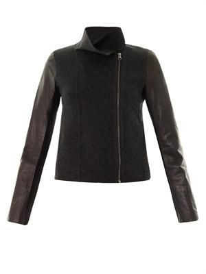 Leather sleeve wool jacket