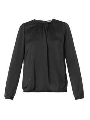Cross-front drape blouse