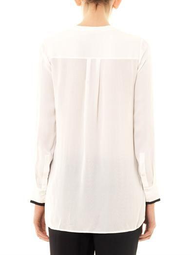 Vince Contrast-placket silk blouse