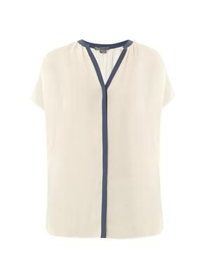Contrast-placket silk blouse