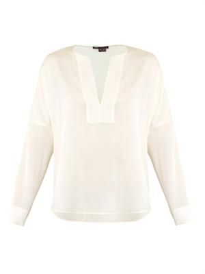 Trapunto silk blouse