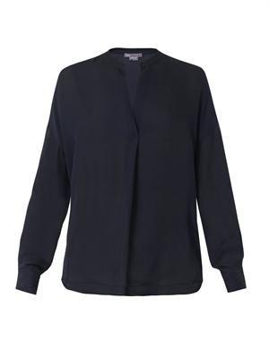 Half-placket silk blouse