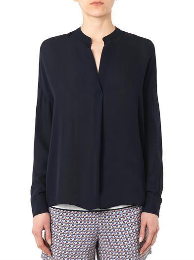 Vince Half-placket silk blouse