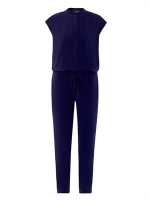 Collarless twill jumpsuit